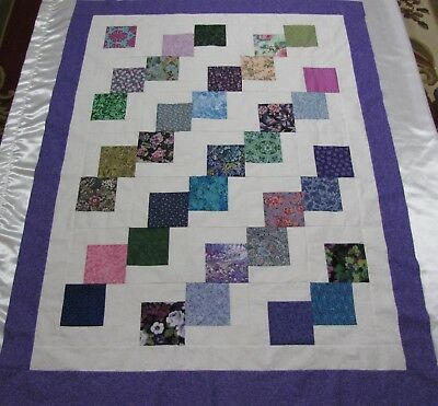 """PATCHWORK Quilt Top~PIECED~""""Falling Stones 1"""" Large Baby,Wall,Lap  44"""" X 58"""" USA"""