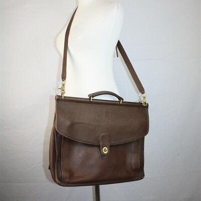 Coach VTG Unisex Brown Leather Crossbody Messenger Bag 'Beekman' Briefcase