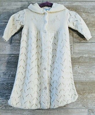 Vintage All Mine Ivory Acrylic Knit Baby Hooded Sweater Bag Blanket Unisex Knit