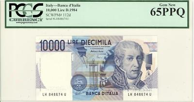 Italy 10,000 Lire Currency Banknote 1984 PCGS 65 GEM UNC