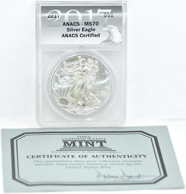 First Commemorative Mint 2017 Silver Eagle One Dollar ANACS-MS70