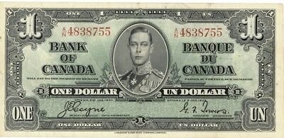 Canada $1 Dollar Currency Banknote 1937  VF/XF