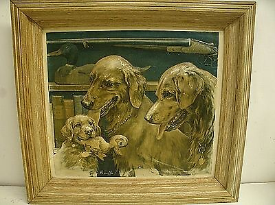Vintage Golden Retrievers Dog Hunting Picture by Fenelle 3D Raised 16.5 x 18.25