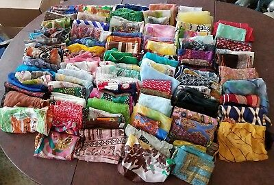 Lot of 110 Scarves Vintage Silk Rayon Variety of Sizes Floral Mod Sheer Clean