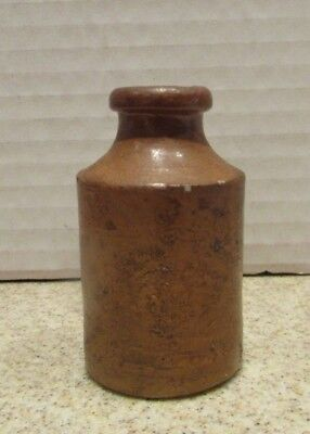 "VICTORIAN ERA POTTERY INK BOTTLE - 1860's - 1880's - approx 3"" tall"