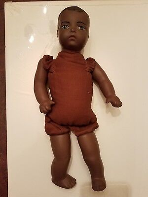 Vintage Black Baby Doll Porcelain Bisque Hand sewn Antique 15 inches long