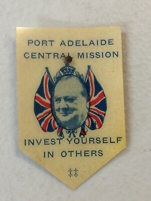 WW2 Port Adelaide Central Mission Winston Churchill Appeal Day Card Badge Pin
