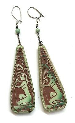 Vintage 1920's Art Deco Egyptian Revival Glass Drop Earrings