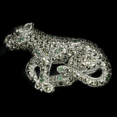 Awesome Round 2mm Green Emerald Ruby Marcasite 925 Sterling Silver Tiger Brooch