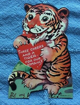 Vintage Valentine's Day Card - Tiger - 1940s