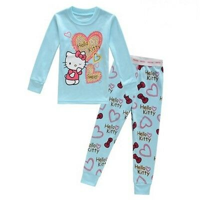 Kids Baby Girls Kitty Pajama Set Size 2T Top+Trousers Sleepwear Warm Nightwear