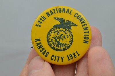 Vintage FFA Pinback Button 1981 Kansas City MO National Convention 1 1/2 in ii