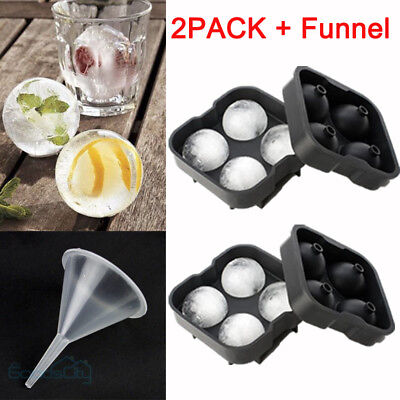 2X ICE Ball Maker Round Sphere Tray Mold Cube Whiskey Cocktails Silicone +Funnel
