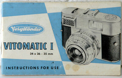Voigtlander Vitomatic I Instructions for Use.  30 pages Instruction Manual