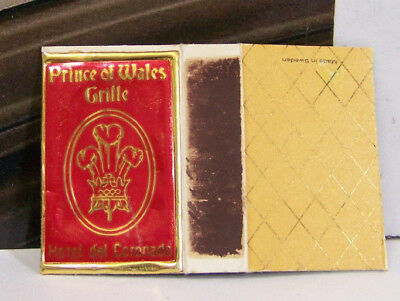 Rare Vintage Matchbook Cover H2 Prince Of Wales Grille Hotel Del Coronado Crown