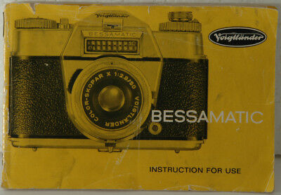 original Instructions for Use Voigtlander Bessamatic, 28 page Instruction Manual