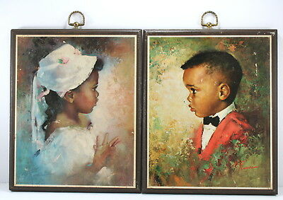Vintage African American Girl & Boy Pictures Wooden Wall Hangings 1970 Era