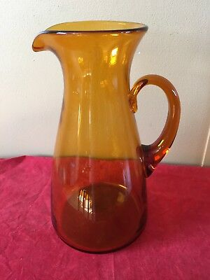 *VINTAGE* GLASS HAND BLOWN Amber PITCHER 10 1/2 inches tall pontil