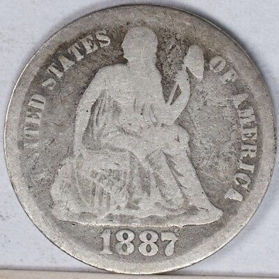 1887 Seated Liberty Dime VG lightly cleaned