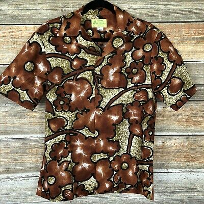 Vtg HAWAII ALOHA SURF CAMP SHIRT UI-MAIKAI BARKCLOTH RETRO CAMP SMALL HIPSTER