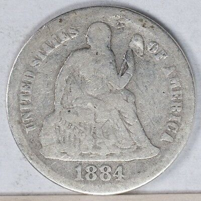 1884 Seated Liberty Dime VG dings
