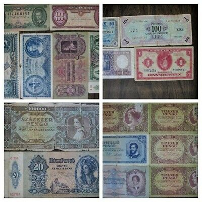 LOT of OLD Hungarian Banknotes incl WWII Inflationary and some Other Misc Money