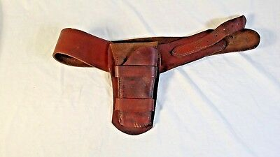 Old West Double Tooled Fast Draw Black Leather Holster Collectible