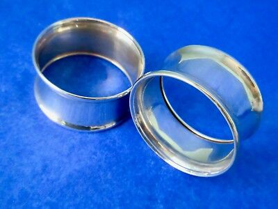 Birks Sterling Silver Antique Art Deco Pair of Napkin Rings Hallmarked 1930s