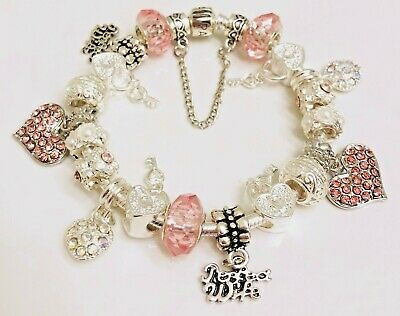 "Authentic Pandora  Bracelet W/ Charms Pink ""my Perfect Wife""  Box Included"