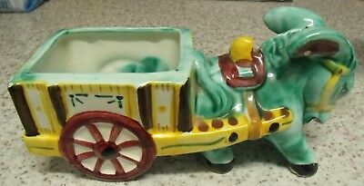 1950 Teal And Yellow Vintage Donkey And Cart Ceramic
