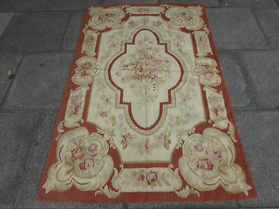 Old Hand Made French Design Original Wool 6x4 Rust Cream  Aubusson 183X118cm