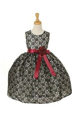 New Black Flower Girls Lace Dress Party Christmas Wedding Easter Classic 1132