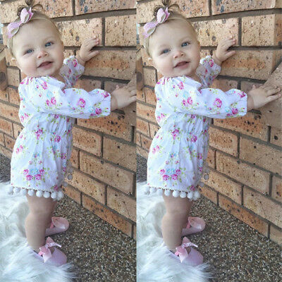 Newborn Baby Girl Floral Ruffle Romper Bodysuit Jumpsuit Summer Outfits Clothes