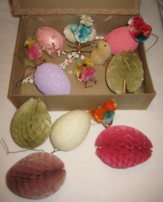 Collection of Old Easter Decorations - Crepe Paper Eggs & Cotton Chicks TMP