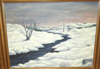 Old Early 20Th Century Oil On Canvas Snow River Landscape Painting Unsigned