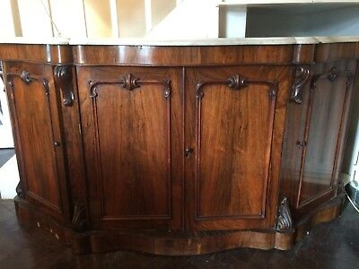 Large Marbled Top Rosewood Credenza