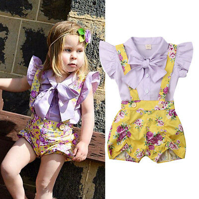 Toddler Infant Kids Baby Girl Tops+Floral Bib Pants Overalls Outfits Sunsuit