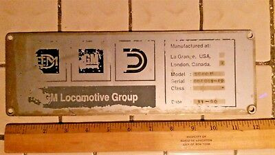 EMD Diesel Builder's plate for an SD-60M blt in London Canada