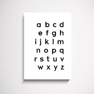 Nordic Alphabet Wall Art Print Picture Painting Poster and Modern Artwork