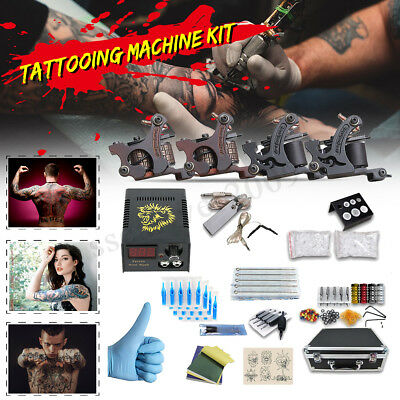 Complete Tattoo Kit 4 Guns Machine Set Tattoo Power Supply Nozzle Needle w/Case