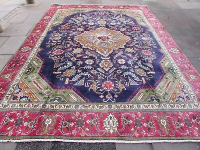 Old Hand Made Traditional Persian Rug Oriental Blue Wool Large Carpet 377x278cm