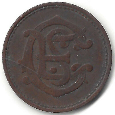 Entwined S E C ? (Stock Exchange Club?) Bz 23.5 mm 1 Shilling Value Stated Toke