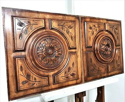 Gothic Rosace Hand Carved Wood Panel Pair Antique French Architectural Salvage