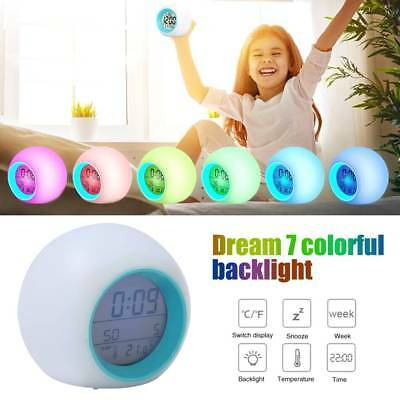 LED Digital Alarm Clock Wake-up Light 7 Colors Change Sunrise Night Lamp Bedroom