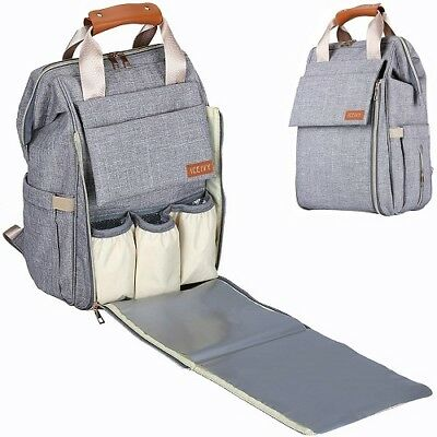 Large Capacity Baby Diaper Bag Travel Backpack Boy Girl Stylish Durable Grey