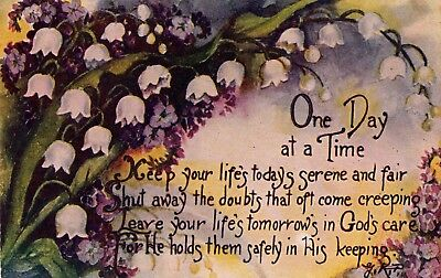One Day at a Time 1910 Floral Postcard