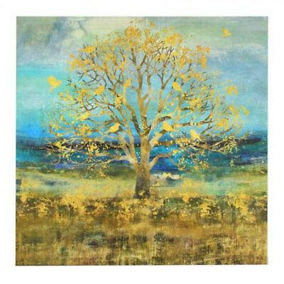 Golden Birds on Tree of Life Framed Stretched Wall Art Home Decor Canvas 70cm