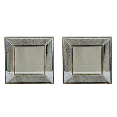 Antique Classic Square Wall Mirror - Set of 2