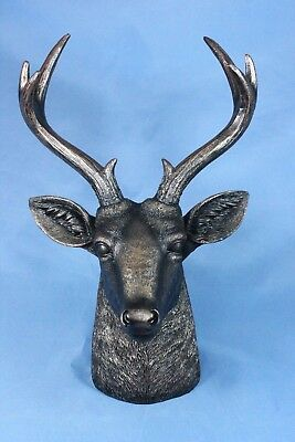 Deer Statue Bronze Deer Head Buck Taxidermy Replica Jewelry Holder New 12.5""