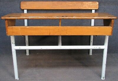 1950s Solid Elm Pine And Painted Tubular Steel 2 Seat Childs School Desk